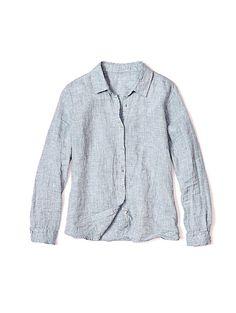 Classic Collar Shirt in Handkerchief Linen Yarn Dye with Organic Linen