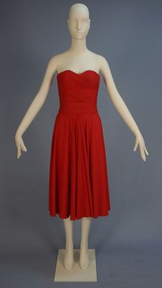 MADAME GRES STRAPLESS PLEATED JERSEY COCKTAIL DRESS, 1958.