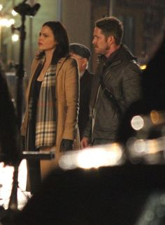 Lana Parrilla and Sean Maguire on Ouat set.