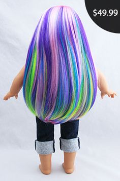 """Butterfly Fairy Pastel Rainbow Doll Wig for 18"""" Custom American Girl Dolls fits size 10-11: Beautifully Custom Exclusive"""