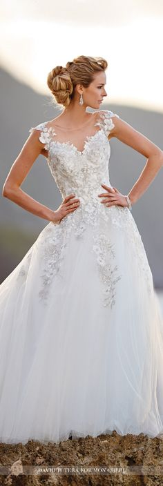 David Tutera for Mon Cheri Fall 2016 Collection - Style No. 216238 Jay -cap sleeve tulle and lace ball gown wedding dress