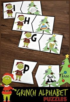 These FREE Grinch Alphabet Puzzle are such a fun literacy activity for re. These FREE Grinch Alphabet Puzzle are su. Christmas Activities For Kids, Free Christmas Printables, Christmas Themes, Christmas Crafts, Kindergarten Christmas, Winter Activities, Holiday Themes, Retro Christmas, Christmas Stuff