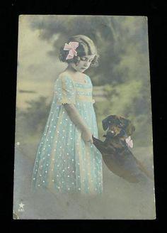 可愛い犬入り絵葉書アンティークポストカードUK0809F1h Antique postcard ¥5000yen 〆04月03日