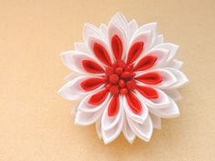White and red chrysanthemum for a lovely bride - satin tsumami kanzashi