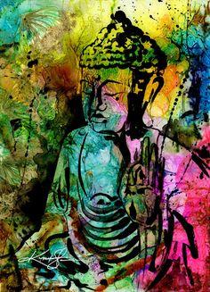 """Buddha Kunst Malerei, große Giclee Leinwand Art Print Original abstrakt Aquarellzeichnung """"Buddha Liebe Nr. 11"""" von Kathy Morton Stanion EBSQ"""