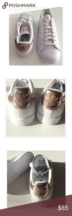 Adidas 'Stan Smith' rose gold/ copper Adidas 'Stan Smith' sneaker. White/rose gold. Never been worn. I bought them in the wrong size. Its a men size 8. I am a size 7.5/8 and they feel quite too big. I guess it's a women's size 9. They come without the box. Adidas Shoes