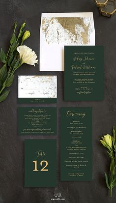 Marble and gold wedding invitation suite with stunning green touches! #weddinginvitation