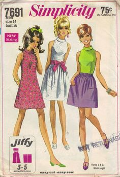 Simplicity 1960s Mini Go Go Dress High Neck Band Collar Bare Shoulder Blouse Full Micro Mini Skirt Wide Sash Belt Uncut FF Bust 36