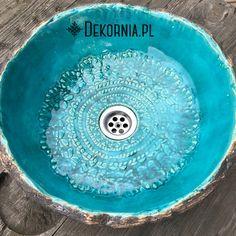 Ceramic sink, handmade washstand, unique pattern, Turquoise washbasin #umywalka #turkus #dekornia #ceramika #washbasin #sink #Turquoise #unique #interioridea