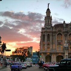 Seen at sunset, the recently renovated and reopened Gran Teatro de la Habana is where performances of opera, the National Ballet and Lizt Alfonso Dance Cuba are put on. Photos by: @dankoday & @yvesy
