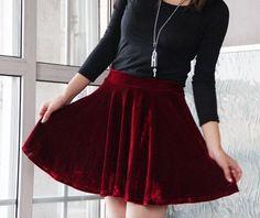 Vintage Velvet Skirt Full Circle Pleated Short Skirt Elastic Waist Winter Skirt in Black Red Green Blue Color. $29.99, via Etsy.