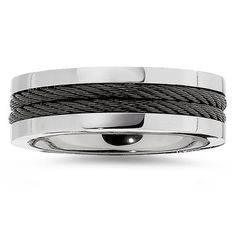 8.0mm Titanium Band with Black Immersed Plate Cable Mens Wedding Band Ring