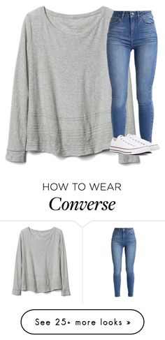"""Untitled #3424"" by laurenatria11 on Polyvore featuring Gap and Converse"
