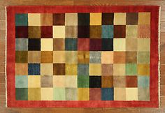 Multicolor-Gabbeh-Collection-4x6-Checked-Design-Hand-Knotted-Wool-Area-Rug-H6506