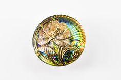B01427-Czech Glass Button-Gold Blue-(1)-$4.70