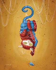 As we all know, there's nothing more adorable than pictures of cats. But what about paintings of cat superheros? Check out these geeky pet works of art by Alana McCarthy, a Toronto-based artist surely trying to rocket into fame and fortune by way of combining two subjects beloved the the Internet: fandom and kittens.