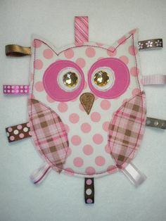 Baby GIRL OWL Tag Toy Pink and Brown by SoSewLovely on Etsy