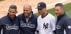 NEW YORK -- On Derek Jeter's final home opener at Yankee Stadium, the Yankees' captain joined longtime teammates Mariano Rivera, Andy Pettitte and Jorge Posada on the field for the ceremonial first...
