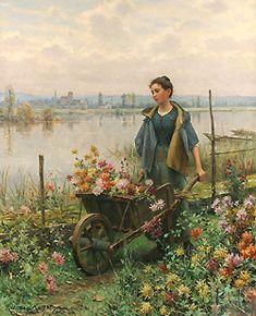 Daniel Ridgway Knight  (1839 - 1924)  Gathering Flowers