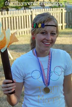 Family Ever After....: 5 Olympic Crafts Tutorials- Medals, T-shirts, Torch, Sign, Jewelry