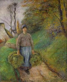 Camille Pissarro, Peasant Woman Carrying Two Bundles of Hay, 1883 (via).
