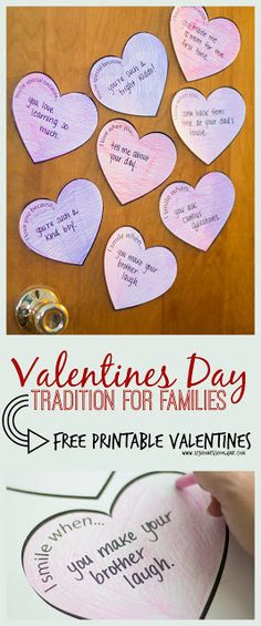 FREE Valentines Day Tradition for Families - this is such a sweet, clever idea that will help encourage and build up everyone in your family! Includes free printable valentines to use. Also fun for classrooms, neighbors, and friends.