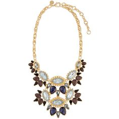 Lee Angel Ornate Layered Crystal Bib Necklace ($72) ❤ liked on Polyvore