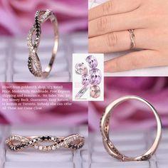 White/Black Diamond Wedding Band Half Eternity Infinite Love Ring 14K Rose Gold