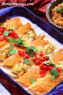 """Easy """"Work Week"""" Chicken Enchiladas - short cuts to making this family favorite quickly after work.  (This was the first dish I made for my husband when we were dating!)  Step-by-step photo tutorial."""