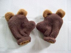 Animal Ears New Born Mittens. www.CatherineBellaire.ca