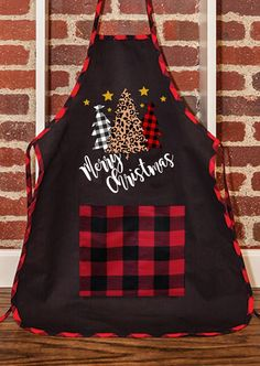Merry Christmas Plaid Leopard Printed Tree Pocket Apron  # #Kitchen&Dining Free Shipping & 30 days Easy Return. #womensfashion