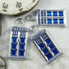Set of 3 TARDIS Dr. Who Charms 3 per package. by BriarGateCharms