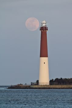 Barnegat Lighthouse and a full moon by Edward Hewitt, via 500px