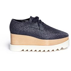 Stella McCartney 'Elyse' glitter wood platform derbies (1,415 CAD) ❤ liked on Polyvore featuring shoes, oxfords, blue, blue shoes, stella mccartney, blue glitter shoes, wooden platform shoes and glitter shoes
