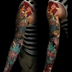 Samurai and Foo Dog sleeve by Tony Hu Chronic Ink Toronto ON