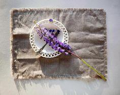Fringe linen napkins fringed placemats washable cloth