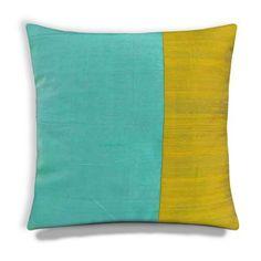 aqua and mint colorblock pillow cover