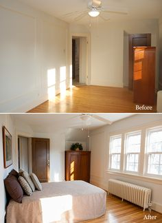 Before and After Bedroom. Home staging. I love the painted trim with wood doors.