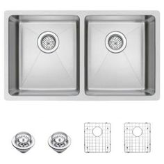 Water Creation Undermount Small Radius Stainless Steel 31 in. 0-Hole Double Bowl Kitchen Sink with Strainer and Grid in Satin Finish SSSG-U-3118A at The Home Depot - Mobile