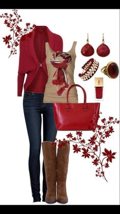 fall/winter- tan, red denim. Polyvore Outfit