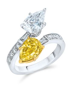 Cellini Jewelers Fancy Intense Yellow and White Diamond Crossover Ring Pear-shape fancy yellow and white diamonds cross over in a white diamond band set with round brilliant and tapered baguette diamonds; in platinum and yellow gold. Unique Diamond Rings, Round Diamond Engagement Rings, Diamond Jewelry, Love Knot Ring, Crossover Ring, Bridal Ring Sets, Selling Jewelry, Colored Diamonds, White Diamonds