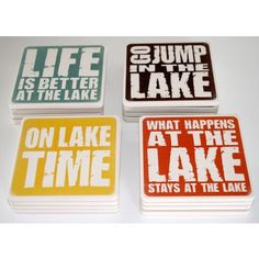 Protect your lake house furniture with this set of four absorbent stone drink coasters featuring popular lake sayings. They're also a unique hostess gift or housewarming gift for any lake house owner. Mosaic Diy, Mosaic Crafts, Lake Quotes, Recycled Home Decor, Lake Decor, Lake Signs, Party Decoration, Jungle Decorations, Lake Cabins