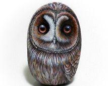Owl Hand Painted Rock! Original 3D Hand Painted Owl On A Sea Stone, Owl Art Decor, Rock Painting Owl, Handmade Bird Art, Rock Art Owl Gift.