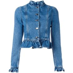 j.w.anderson Denim Ruffle Jacket (2.245 RON) ❤ liked on Polyvore featuring outerwear, jackets, denim blue, jean jacket, j.w. anderson, ruffle jacket, blue denim jacket and blue jean jacket