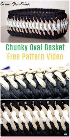 Crochet Chunky Oval Basket Free Pattern Video