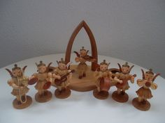 Lot Erzgebirge Germany Wooden 7 Angel Orchestra Vintage Christmas candle holder