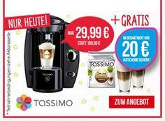 Tassimo: Fidelia mit WMF-Gläsern und 20 Euro-Gutschein für 29,99 Euro http://www.discountfan.de/artikel/essen_und_trinken/tassimo-fidelia-mit-wmf-glaesern-und-20-euro-gutschein-fuer-30-euro.php Unter dem Strich ein echtes Schnäppchen: Für 29,99 Euro frei Haus gibt es heute die Tassimo Fidelia mit zwei WMF-Gläsern, einer T-Discs-Packung im Wert von fünf Euro und Tassimo-Gutscheinen im Wert von 20 Euro. Tassimo: Fidelia mit WMF-Gläsern und 20 Euro-Gutschein für 29,99
