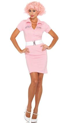 #GR83957 Be a beauty school drop out this Halloween as Frenchie from the movie Grease. The Frenchie Costume includes a light pink, button front dress with logo badge accents and belt. Included: - Dres