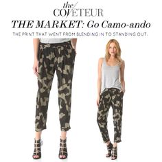 Go from blending in to standing out in Haute Hippies Narrow Trouser in camo, as featured in The Coveteur. - @youarehere