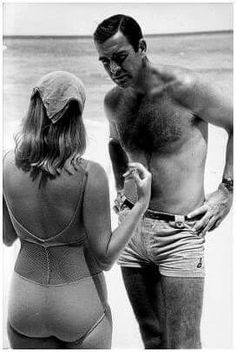 Behind the scenes with Sean Connery and Diane Cilento on location in The Bahamas during filming for Thunderball (1965)